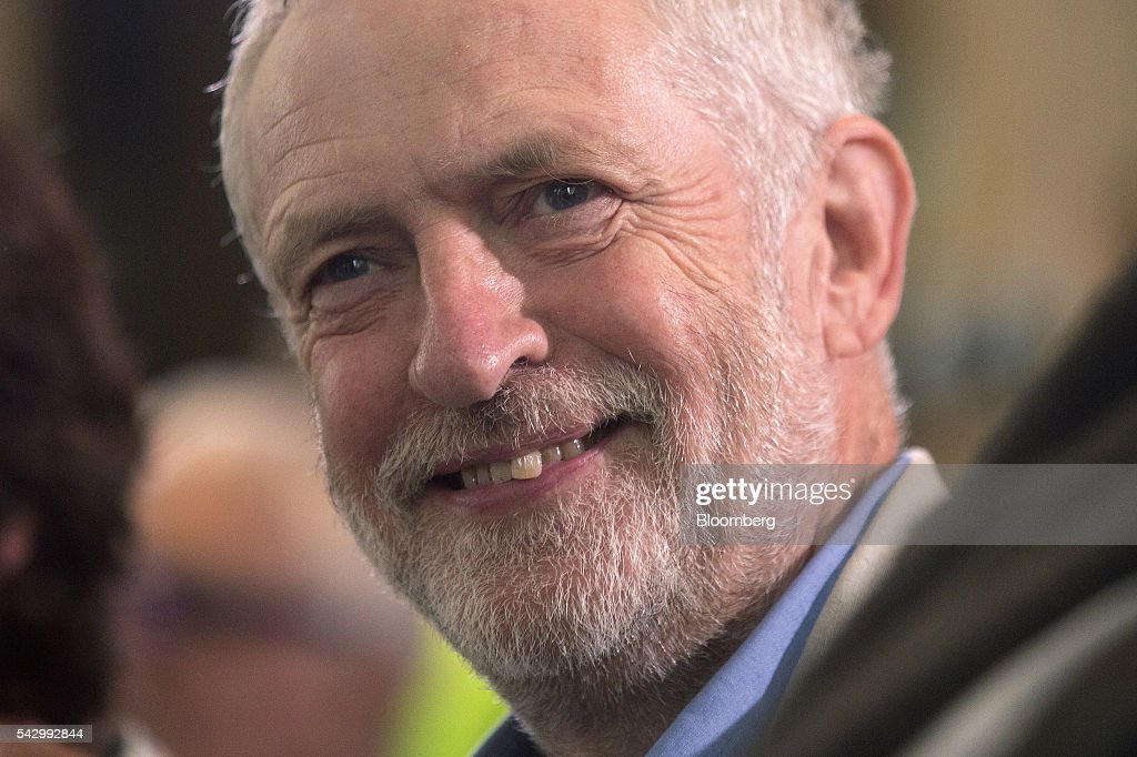 Jeremy Corbyn, leader of the U.K. opposition Labour Party, reacts before speaking at a news conference following the U.K. European Union (EU) referendum results, in London, U.K., on Saturday, June 25, 2016. Corbyn said he would run in a second U.K. Labour leadership election. Photographer: Simon Dawson/Bloomberg via Getty Images