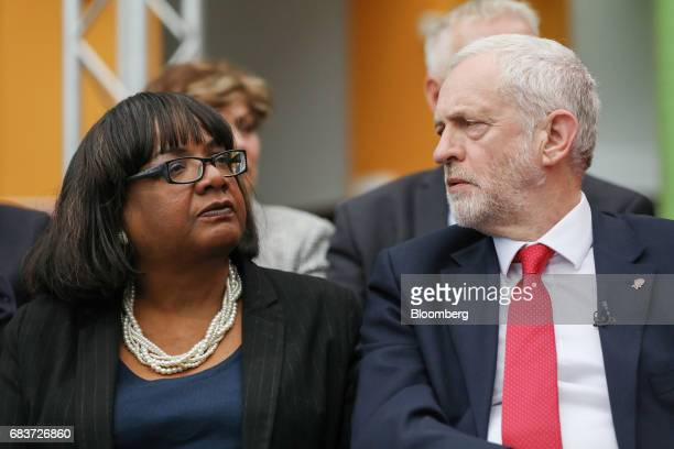 Jeremy Corbyn leader of the UK opposition Labour Party right sits next to Diane Abbot Labour's spokeswoman on home affairs at an event marking the...