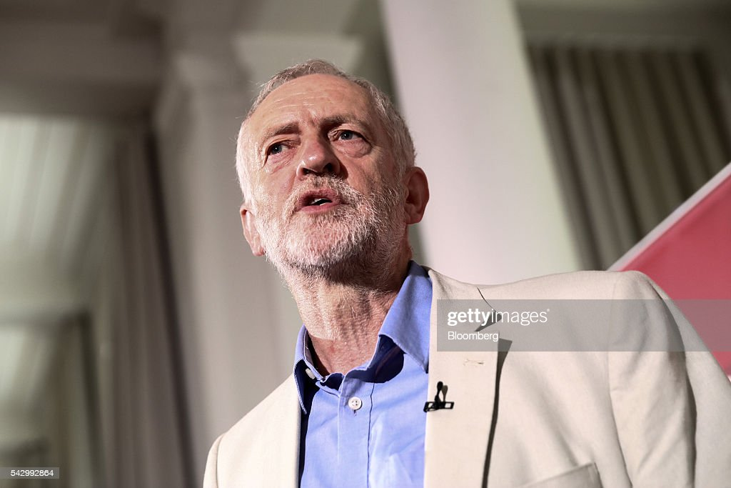 Jeremy Corbyn, leader of the U.K. opposition Labour Party, speaks at a news conference following the U.K. European Union (EU) referendum results, in London, U.K., on Saturday, June 25, 2016. Corbyn said he would run in a second U.K. Labour leadership election. Photographer: Simon Dawson/Bloomberg via Getty Images