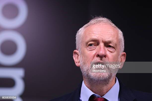 Jeremy Corbyn leader of the UK opposition Labour Party speaks during his keynote speech on postBrexit Britain at the Bloomberg LP office in London UK...