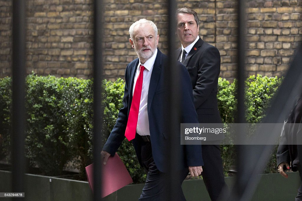 <a gi-track='captionPersonalityLinkClicked' href=/galleries/search?phrase=Jeremy+Corbyn&family=editorial&specificpeople=2596361 ng-click='$event.stopPropagation()'>Jeremy Corbyn</a>, leader of the U.K. opposition Labour Party, walks through Portcullis House in London, U.K., on Monday, June 27, 2016. Pressure on Corbyn continued to mount as more Labour Party lawmakers quit his shadow government, with many criticizing him for failing to persuade voters to back staying in the European Union. Photographer: Jason Alden/Bloomberg via Getty Images