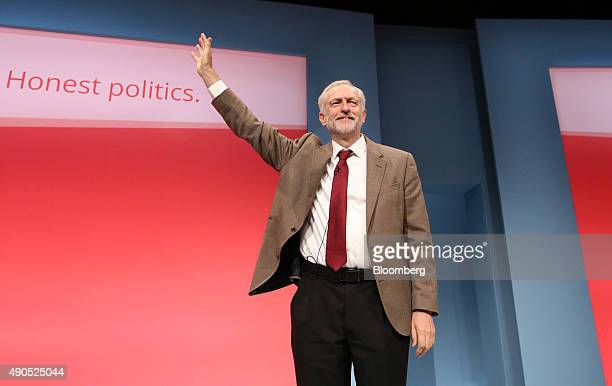 Jeremy Corbyn leader of the UK opposition Labour Party waves after delivering his speech at the party's annual conference in Brighton UK on Tuesday...