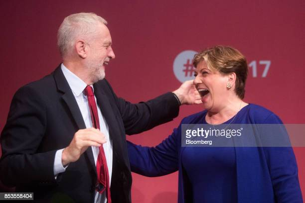 Jeremy Corbyn leader of the UK's opposition Labour Party left and Emily Thornberry foreign affairs spokeswoman for the opposition Labour Party react...