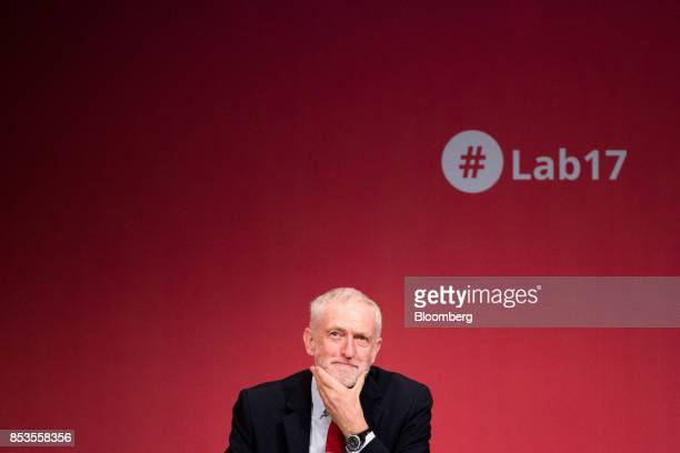 Jeremy Corbyn leader of the UK's opposition Labour Party listens to speakers at the Labour Party Annual Conference in Brighton UK on Monday Sept 25...