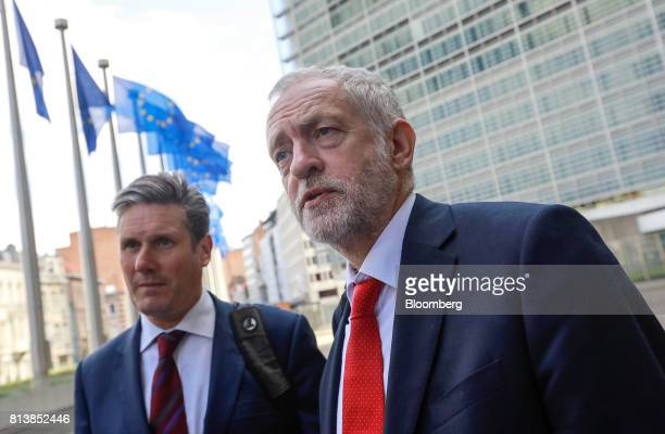 Jeremy Corbyn leader of the UK's opposition Labour Party right speaks to journalists as he stands beside Keir Starmer UK exiting the European Union...