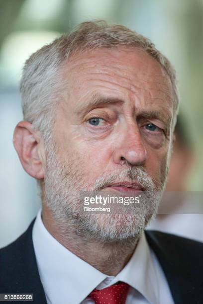 Jeremy Corbyn leader of the UK's opposition Labour Party speaks to journalists following talks with the European Union chief negotiator Michel...