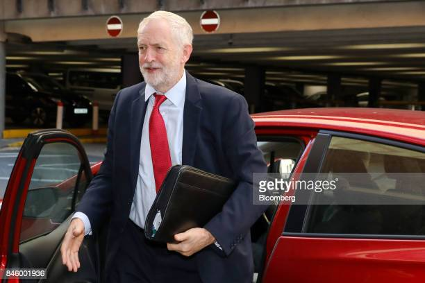Jeremy Corbyn leader of UK's opposition Labour Party arrives at the annual Trades Union Congress conference at Brighton UK on Tuesday Sep 12 2017...