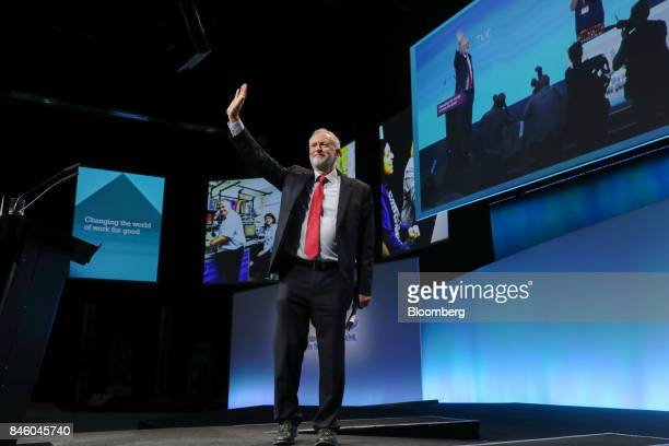Jeremy Corbyn leader of UK's opposition Labour Party gestures after speaking at the annual Trades Union Congress conference at Brighton UK on Tuesday...