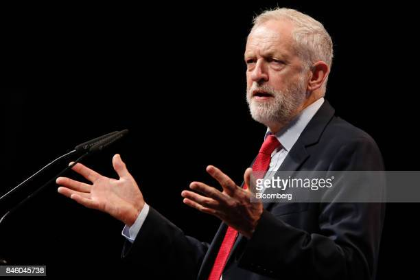 Jeremy Corbyn leader of UK's opposition Labour Party gestures as he speaks at the annual Trades Union Congress conference at Brighton UK on Tuesday...