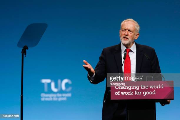 Jeremy Corbyn leader of UK's opposition Labour Party gestures while speaking at the annual Trades Union Congress conference at Brighton UK on Tuesday...