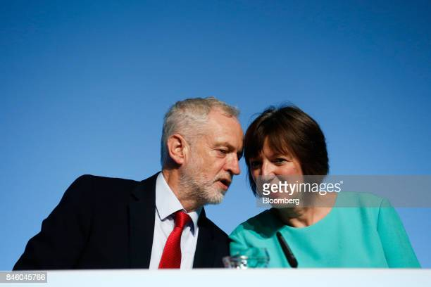 Jeremy Corbyn leader of UK's opposition Labour Party left speaks to Frances O'Grady general secretary of the Trades Union Congress ahead of his...