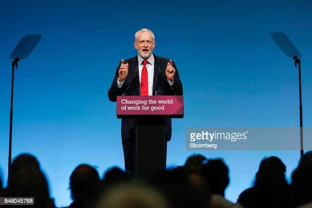 Jeremy Corbyn leader of UK's opposition Labour Party speaks at the annual Trades Union Congress conference at Brighton UK on Tuesday Sep 12 2017...