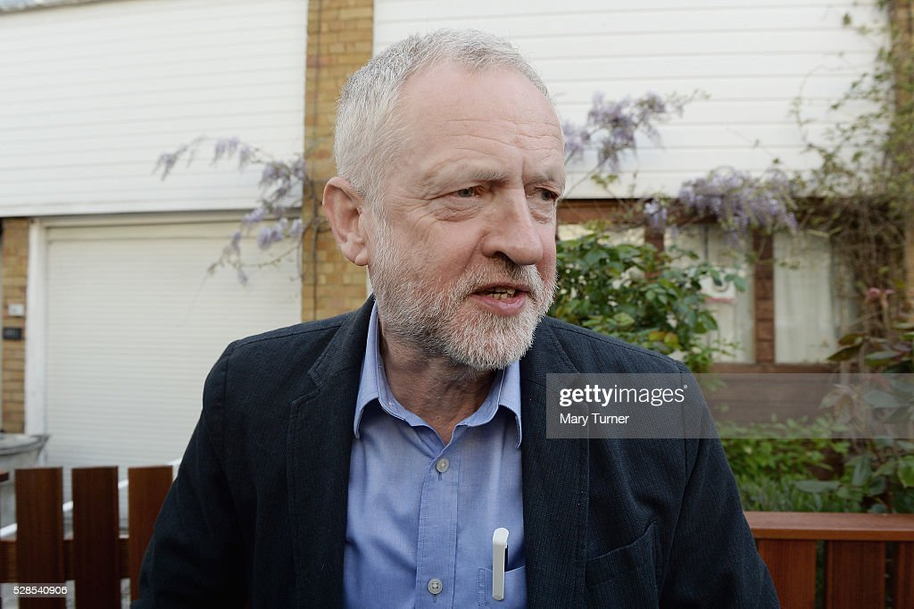 <a gi-track='captionPersonalityLinkClicked' href=/galleries/search?phrase=Jeremy+Corbyn&family=editorial&specificpeople=2596361 ng-click='$event.stopPropagation()'>Jeremy Corbyn</a> leaves his home as the London Mayoral, Local Council and Assembly Election results start to come in, on May 6, 2016 in London, England. Early predictions suggest that there will be bad results across Scotland for Labour but that their candidate Sadiq Khan will become the new London Mayor.