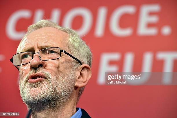 Jeremy Corbyn makes a speech after he was announced as the new leader of the Labour Party at the Queen Elizabeth II conference centre on September 12...