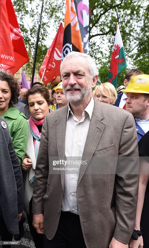 Jeremy Corbyn meets hundreds of demonstrators from steel industry unions during a protest march over what they call the Government's failure to deal with the crisis in their industry, in London, United Kingdom on May 25, 2016.