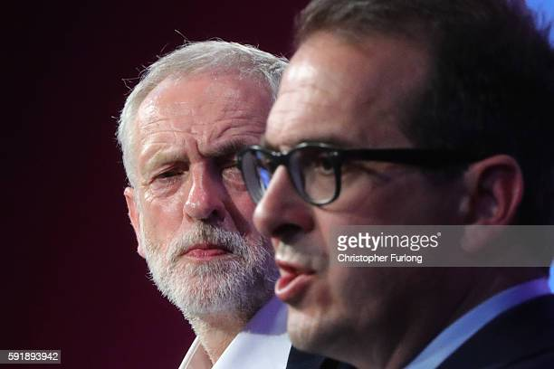 Jeremy Corbyn MP debates with Owen Smith MP in front of an audience of party members at the National Conference Centre during the third Labour party...