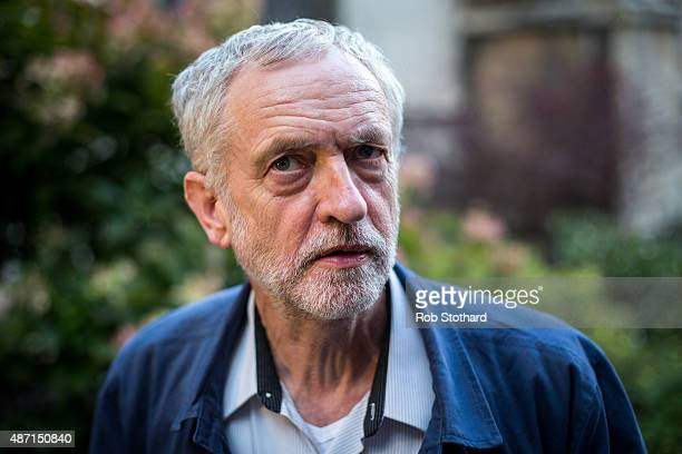 Jeremy Corbyn MP for Islington North and candidate in the Labour Party leadership election speaks to journalists on September 6 2015 in Cambridge...