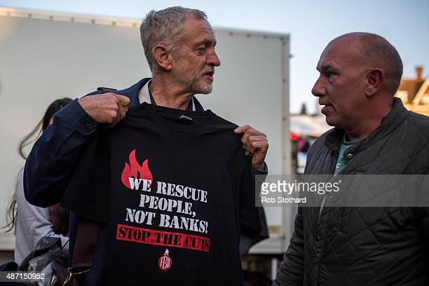 Jeremy Corbyn MP for Islington North and candidate in the Labour Party leadership election is greeted by supporters on September 6 2015 in Cambridge...