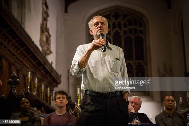 Jeremy Corbyn MP for Islington North and candidate in the Labour Party leadership election speaks to supporters at Great St Mary's church on...