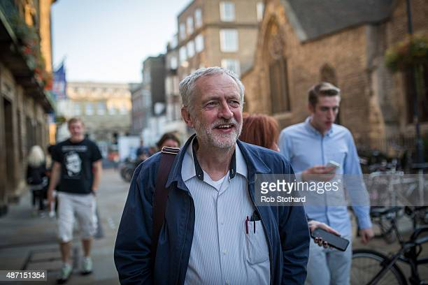Jeremy Corbyn MP for Islington North and candidate in the Labour Party leadership election arrives at a campaign event on September 6 2015 in...