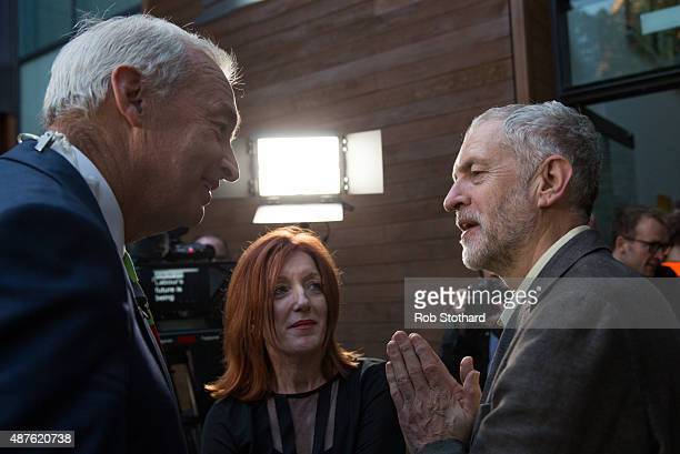 Jeremy Corbyn MP for Islington North and candidate in the Labour Party leadership election speaks to journalist Jon Snow outside the Rock Tower on...