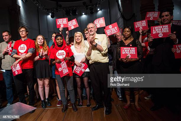 Jeremy Corbyn MP for Islington North and candidate in the Labour Party leadership election is joined on stage by supporters after speaking at the...