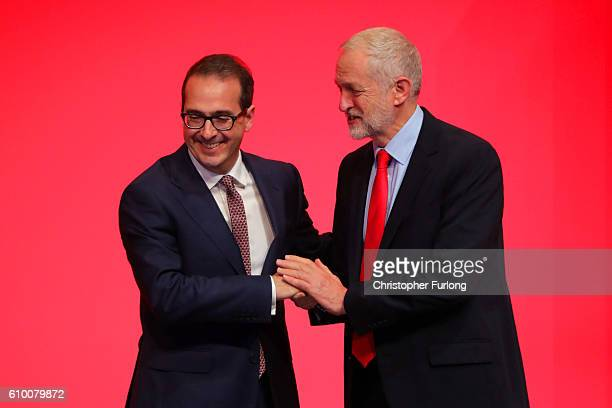 Jeremy Corbyn MP is congratulated by Owen Smith MP after being announced as the leader of the Labour Party on the eve of the party's annual...