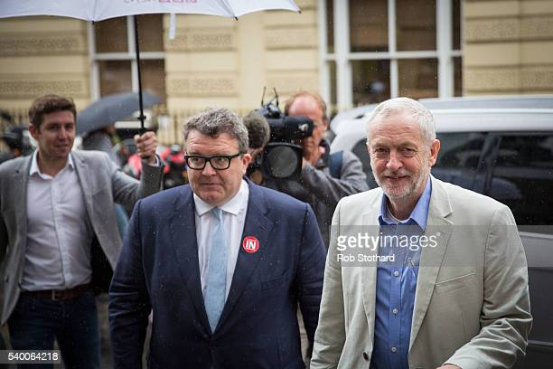 Jeremy Corbyn MP Leader of the Labour Party and Tom Watson Deputy Leader of the Labour Party arrive at a Labour In for Britain event at the TUC...