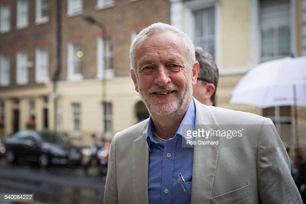 Jeremy Corbyn MP leader of the Labour Party arrives at a Labour In for Britain event at the TUC Congress Hall on June 14 2016 in London England...