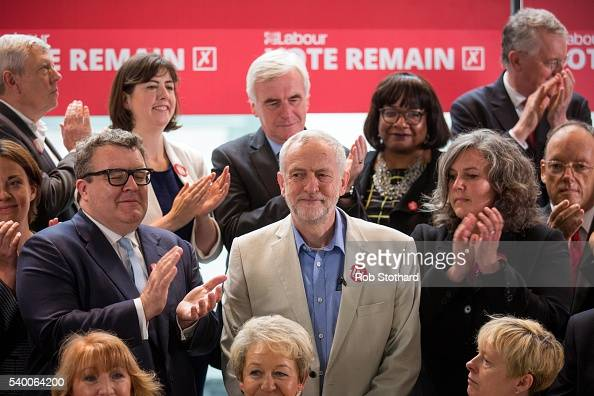 Jeremy Corbyn MP leader of the Labour Party is joined by members of the party's shadow cabinet at a Labour In for Britain event at the TUC Congress...