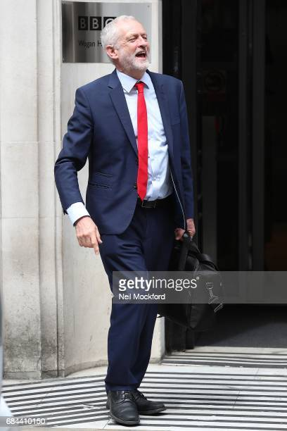 Jeremy Corbyn seen departing BBC Radio 2 Studios after an interview with Jeremy Vine on May 18 2017 in London England