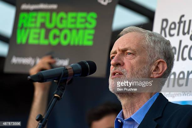 Jeremy Corbyn speaks in Parliament Square at the end of the demonstration on September 12 2015 in London England The demonstrators are calling on...