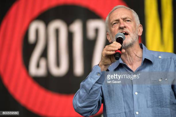 Jeremy Corbyn speaks on stage on day 3 of the Glastonbury Festival 2017 at Worthy Farm Pilton on June 24 2017 in Glastonbury England