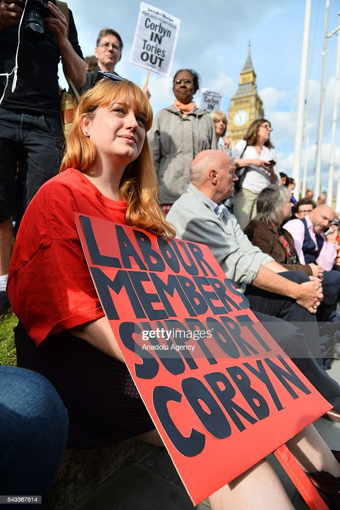Jeremy Corbyn supporters at a rally in Parliament Square organised by the Momemtum organisation to keep him as Labour party leader after the EU Referendum in London, United Kingdom on June 27, 2016