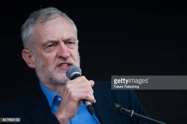 Jeremy Corbyn the Leader of the Opposition adresses thousands of people in Parliament Square during a protest against the state of the country's...