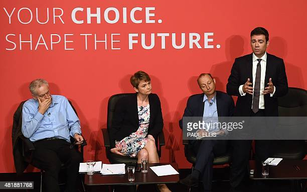 Jeremy Corbyn Yvette Cooper journalist Paul Waugh and Andy Burnham take part in a Labour Party leadership hustings event in Warrington north west...