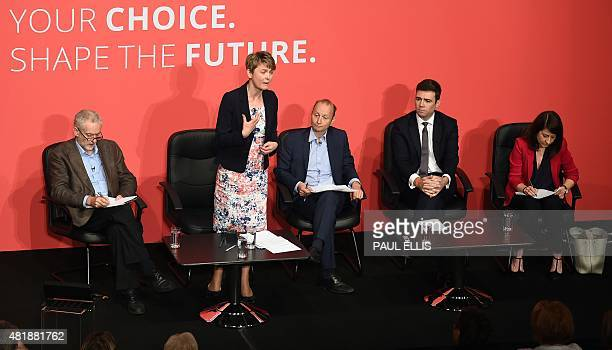 Jeremy Corbyn Yvette Cooper journalist Paul Waugh Andy Burnham and Liz Kendall take part in a Labour Party leadership hustings event in Warrington...