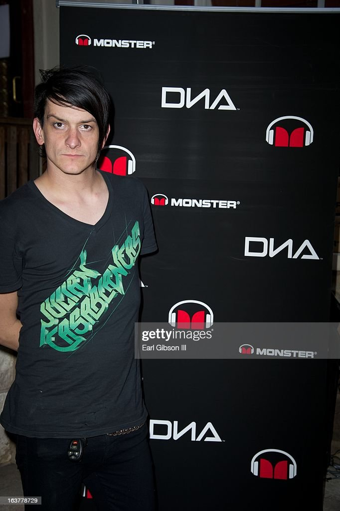Jeremy Dawson of Shiny Toy Guns poses for a photo in the Monster Lounge at Moonshines Grill in Austin on March 15, 2013 in Austin, Texas.