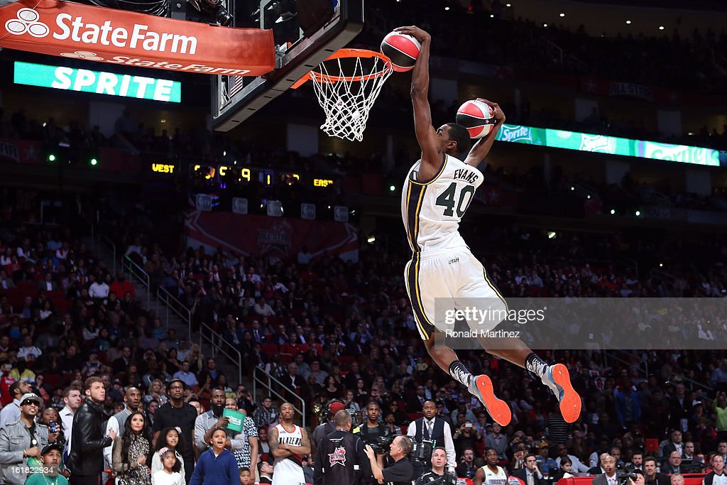 Jeremy Evans of the Utah Jazz dunks two basketballs in the second round during the Sprite Slam Dunk Contest part of 2013 NBA All-Star Weekend at the Toyota Center on February 16, 2013 in Houston, Texas.