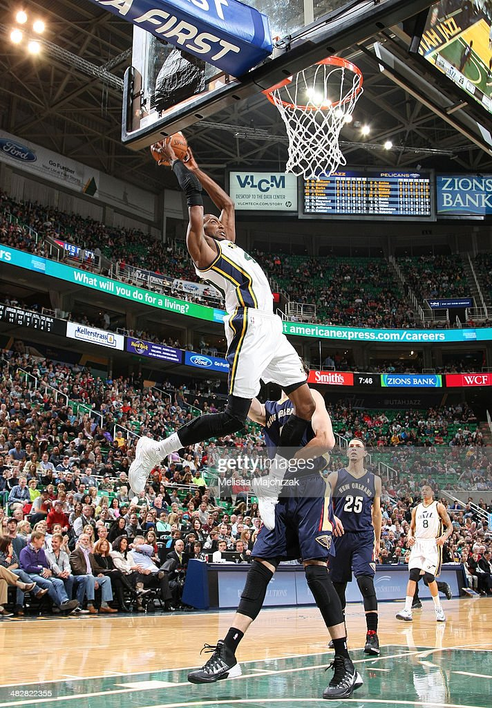 Jeremy Evans #40 of the Utah Jazz shoots against Jeff Withey #5 of the New Orleans Pelicans at EnergySolutions Arena on April 04, 2014 in Salt Lake City, Utah.