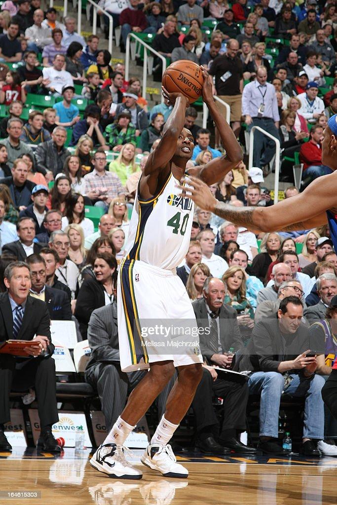 Jeremy Evans #40 of the Utah Jazz shoots the ball against the Detroit Pistons on March 11, 2013 in Salt Lake City, Utah.