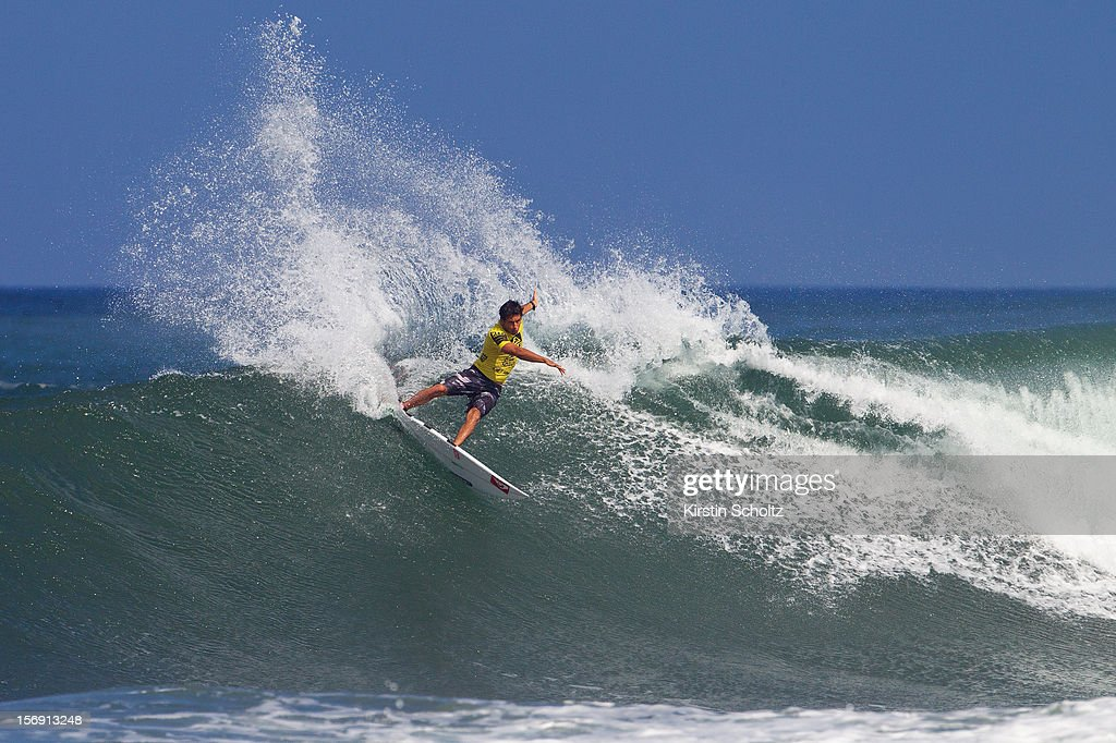 Jeremy Flores of France surfs on November 24, 2012 in Haleiwa, Hawaii.