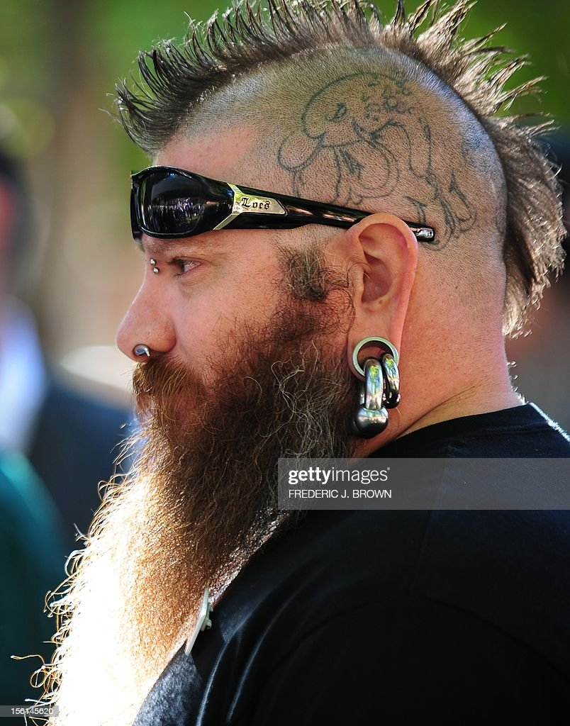 Jeremy 'Freak' Day from Henderson, Nevada, readies for competition at the third annual National Beard and Moustache Championships in Las Vegas, Nevada on November 11, 2012. AFP PHOTO / Frederic J. BROWN