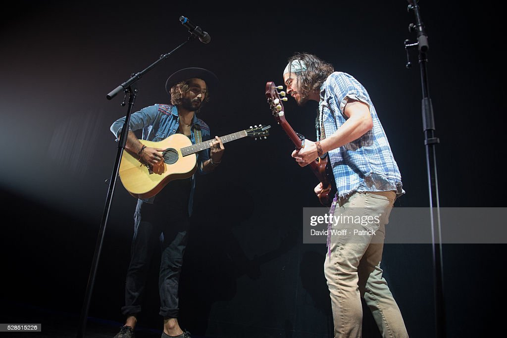 Jeremy Frerot and Florian Delavega from Frero Delavega perform at L'Olympia on May 5, 2016 in Paris, France.