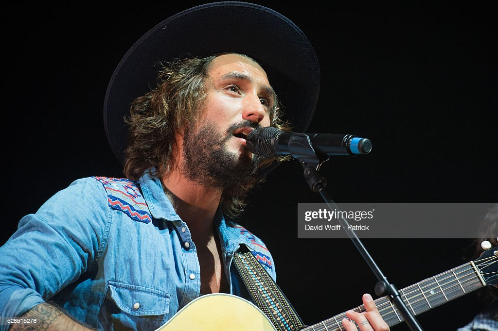 Jeremy Frerot from Frero Delavega performs at L'Olympia on May 5, 2016 in Paris, France.