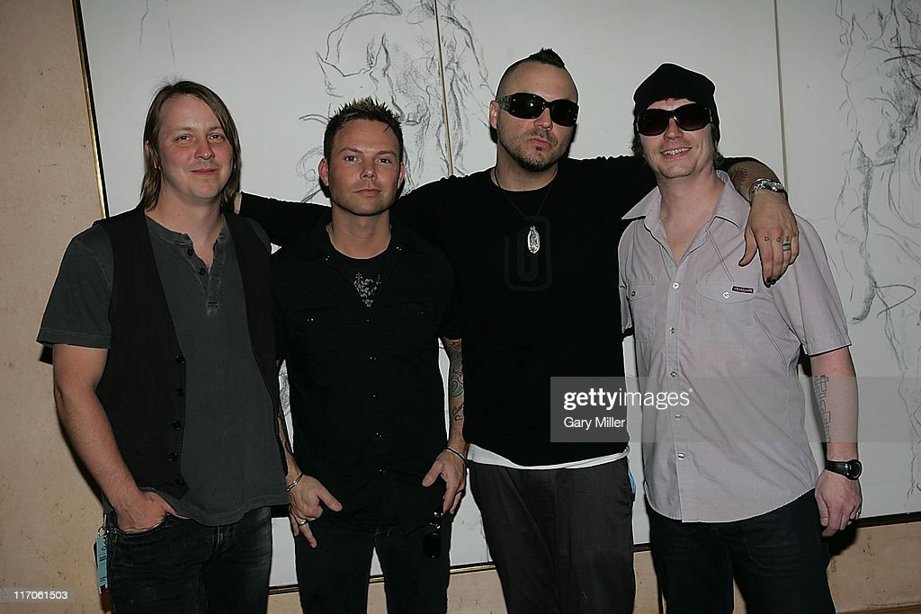 Jeremy Furstenfeld, Matt Noveskey, Justin Furstenfeld and Ryan Delahoussaye of grammy winning band Blue October backstage at the Recording Academy's Texas Chapter membership drive on the south lawn of the Four Seasons during the South By Southwest Music Festival on March 18, 2010 in Austin, Texas.
