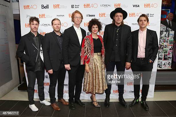Jeremy Gara Tim Kingsbury Richard Reed Parry Regine Chassagne Win Butler and Will Butler of Arcade Fire attend a photocall for 'The Reflektor Tapes'...
