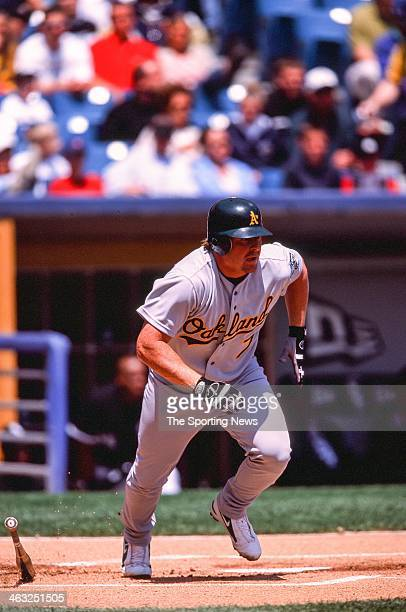 Jeremy Giambi of the Oakland Athletics bats during the game against the Chicago White Sox on May 5 2002 at Comiskey Park in Chicago Illinois