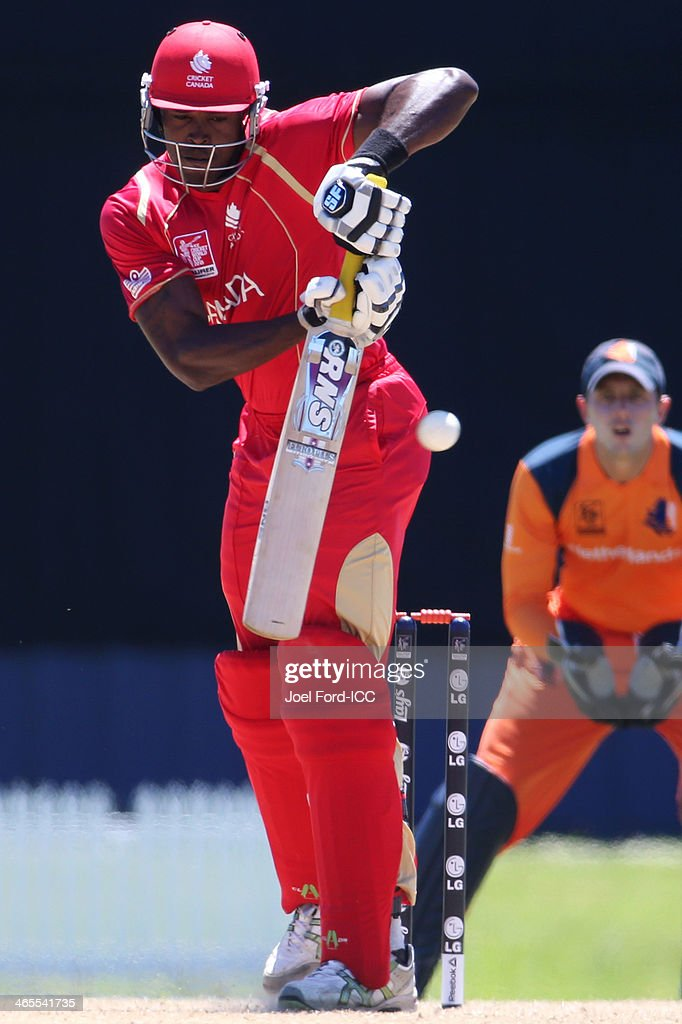 Jeremy Gordon of Canada plays a shot during an ICC World Cup qualifying playoff between The Netherlands and Canada on January 28, 2014 in Mount Maunganui, New Zealand.