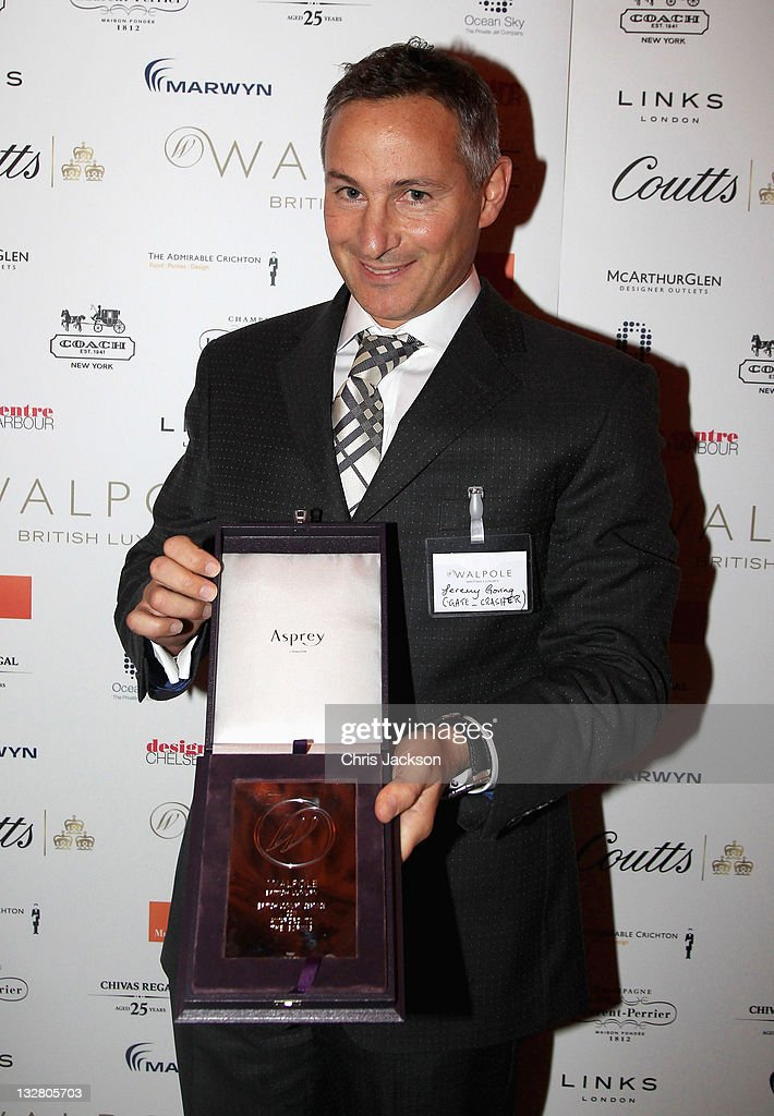 Jeremy Goring of the Goring Hotel poses with the Best Luxury Hotel Award at the Walpole Awards of Excellence 2011 at Banqueting House on November 14, 2011 in London, England.